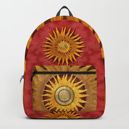 """Aztec Sun and pickled coral"" Backpack"