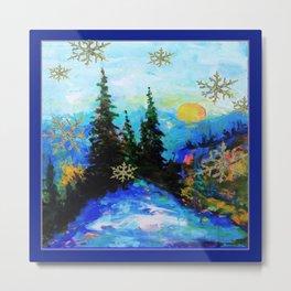 Blue Snowy Mountain Scenic Landscape Metal Print