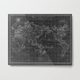 Black and White World Map (1799) Inverse Metal Print