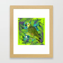 DECORATIVE GREEN PARROT JUNGLE GRAY-GREEN ART Framed Art Print