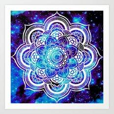 Mandala : Bright Violet & Teal Galaxy Art Print