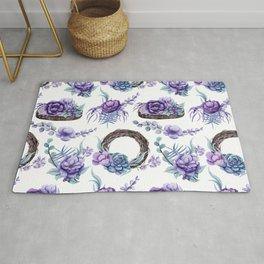Purple flowers and wood pattern Rug
