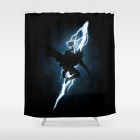 returns Shower Curtains featuring The Thunder God Returns by Six Eyed Monster