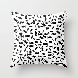 Black fishes Throw Pillow