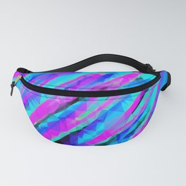 psychedelic geometric polygon abstract in pink blue with black background Fanny Pack