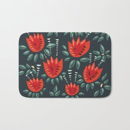 Abstract Red Tulip Floral Pattern Bath Mat
