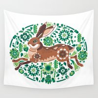 hare Wall Tapestries featuring RUNNING HARE by Riku Ounaslehto