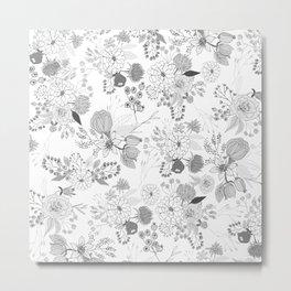 Modern elegant black white rustic floral illustration Metal Print