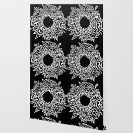 White Linocut Flowery Wreath On Black Wallpaper