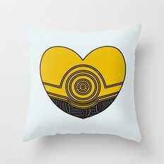 C3PO Character Heart Throw Pillow