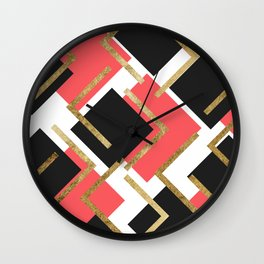 Chic Coral Pink Black and Gold Square Geometric Wall Clock