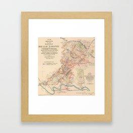 Vintage Map of Cedar Cree Battlefield (1890) Framed Art Print