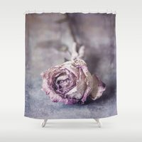 depression Shower Curtains featuring Dried Rose by Maria Heyens