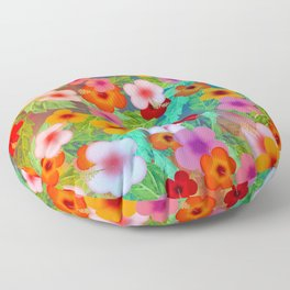 Colorful Hibiscus Floor Pillow