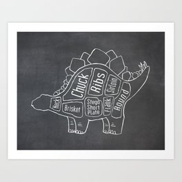 Stegosaurus Dinosaur (A.K.A Armored Lizard) Butcher Meat Diagram Art Print