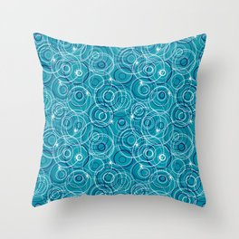 Holiday Fizz in Blue Throw Pillow
