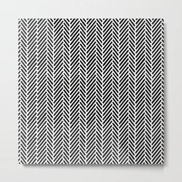 Herringbone Black Inverse Metal Print