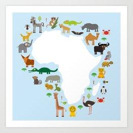 Animal Africa: parrot Hyena Rhinoceros Zebra Hippopotamus Crocodile Turtle Elephant Mamba snake Art Print