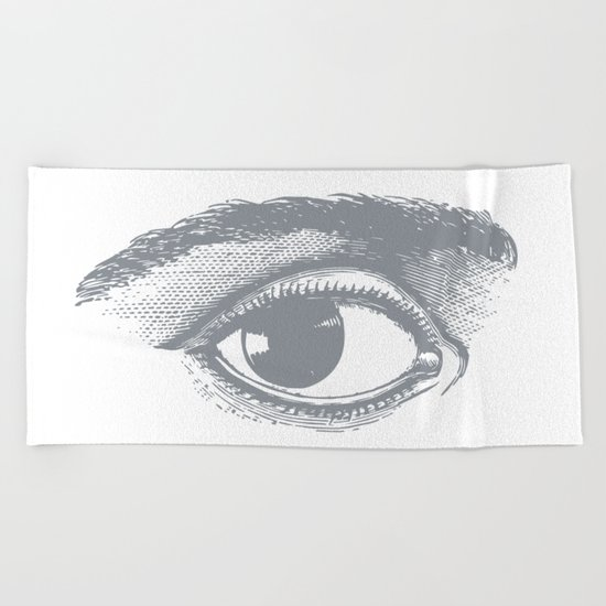 I see you. Gray on White Beach Towel