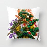 teenage mutant ninja turtles Throw Pillows featuring Teenage Mutant Ninja Turtles by Magik Tees
