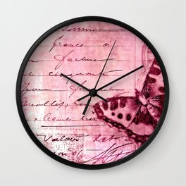 pink postage Wall Clock