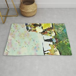 Shepherd with cows and goats on the road Rug