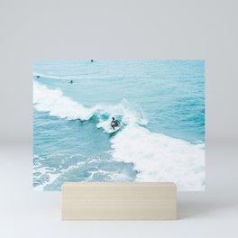 Wave Surfer Turquoise Mini Art Print