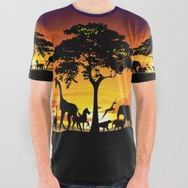 Wild Animals on African Savanna Sunset All Over Graphic Tee