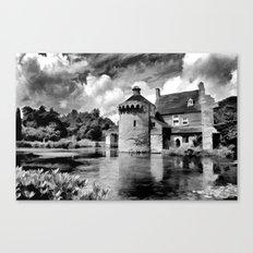 Black and White Scotney Castle Canvas Print