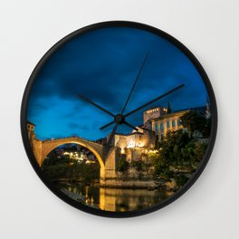 Mostar at night Wall Clock