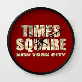 Times Square New York City (gold lettering on red) Wall Clock