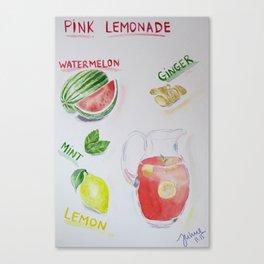 Pink Lemonade juice recipe Canvas Print