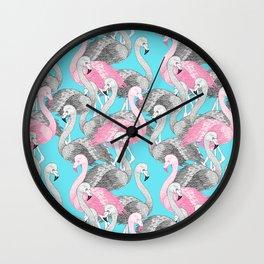 Flamingo Flock Wall Clock