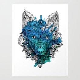 Ornament Wolf - Cyan Aquarell Art Print