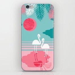 Chill Vibes - memphis retro throwback 1980s 80s neon pop art flamingo paradise socal vacation iPhone Skin