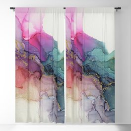 Abstract Coral Turquoise Canvas Texture Painting Blackout Curtain