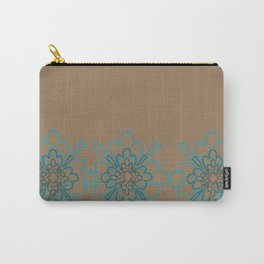 Tan and Teal Patten Carry-All Pouch