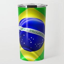 Brazil Flag Waving Silk Fabric Travel Mug