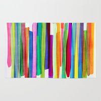 stripes Area & Throw Rugs featuring Colorful Stripes 1 by Mareike Böhmer