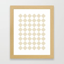 Large Diamonds - White and Pearl Brown Framed Art Print