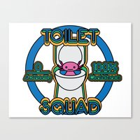 toilet Canvas Prints featuring Toilet Squad by Justin Kedl