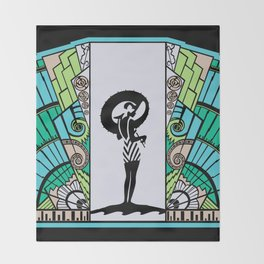 SEASIDE DECO - ART DECO LADY: OCEAN SPA Throw Blanket