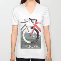 tour de france V-neck T-shirts featuring Tour De France Bicycle by Wyatt Design