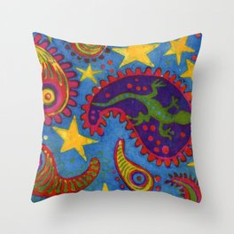 Lizard Paisley Batik Throw Pillow