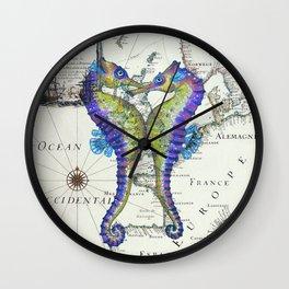 Blue Seahorse Kiss Wall Clock