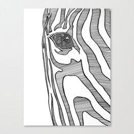 Black And White Zebra Portrait Canvas Print