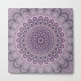 Purple floral mandala Metal Print