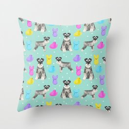 Schnauzer dog breed peeps marshmallow easter spring dog pattern gifts schnauzers Throw Pillow