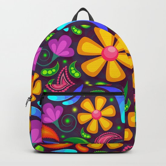 Brightly Colored Yellow Floral Pattern Backpack
