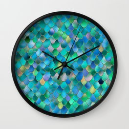 Summer Ocean Metal Mermaid Scales Wall Clock